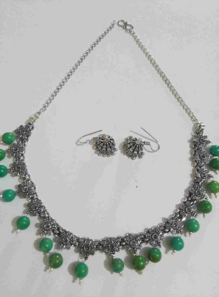 Oxidised Stone Necklace Set