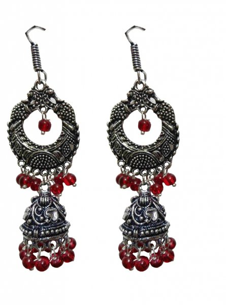 Glittering Beaded Oxidised Multi Jhumki