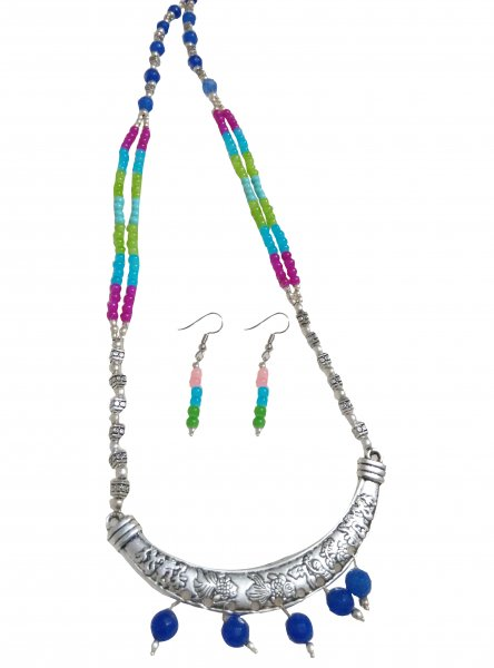 Pretty Stylish Beaded Oxidised Necklace Set