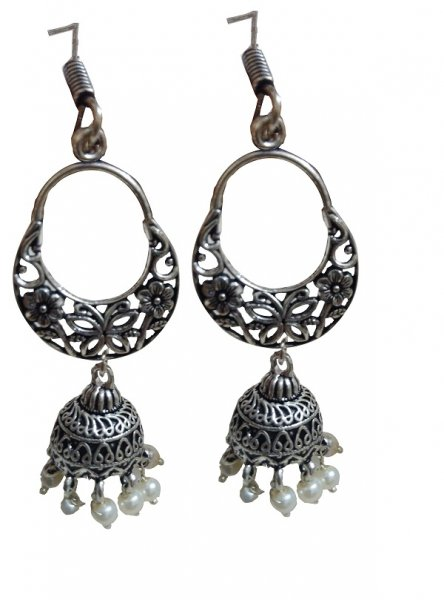 Antique Black Oxidised Beaded Jhumka