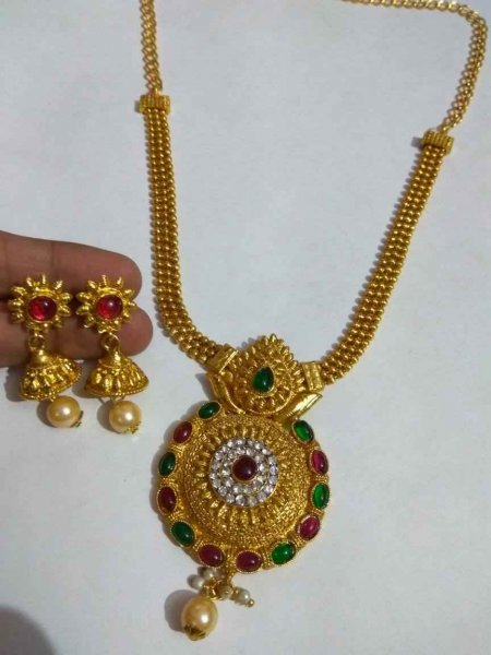 Partywear Stylish Golden Necklace Set