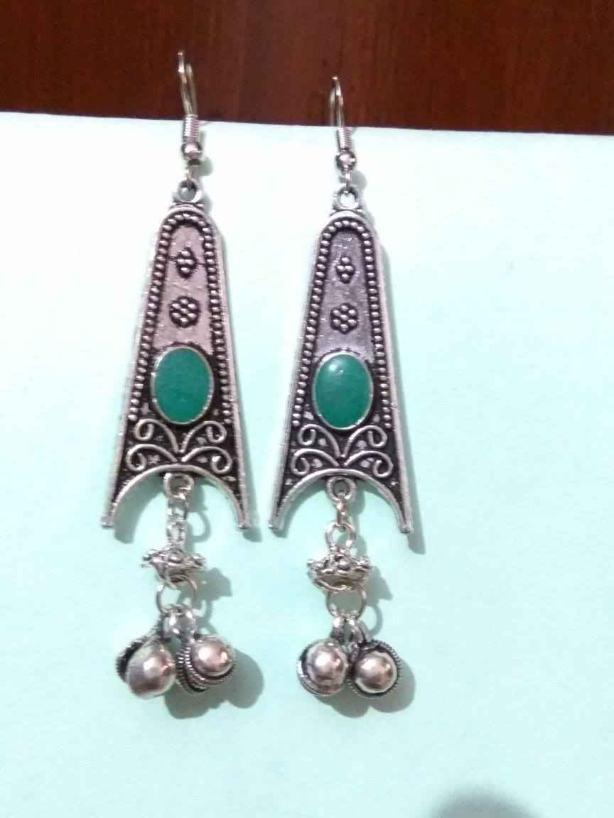 antique peacock shape oxidized jhumki rajasthani plated german finish pearl a earrings silver in