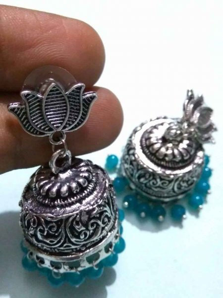 Designer Lotus Tops Beads Earring