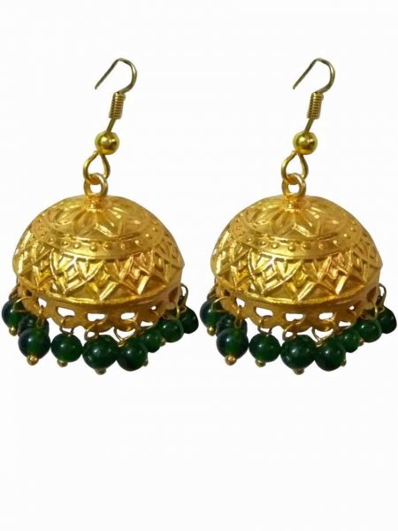 Glorious Golden Beaded Jhumki