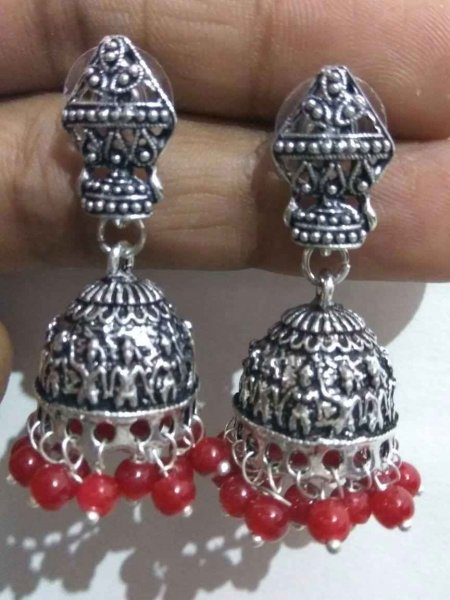 Traditional Oxidised Beads Jhumki