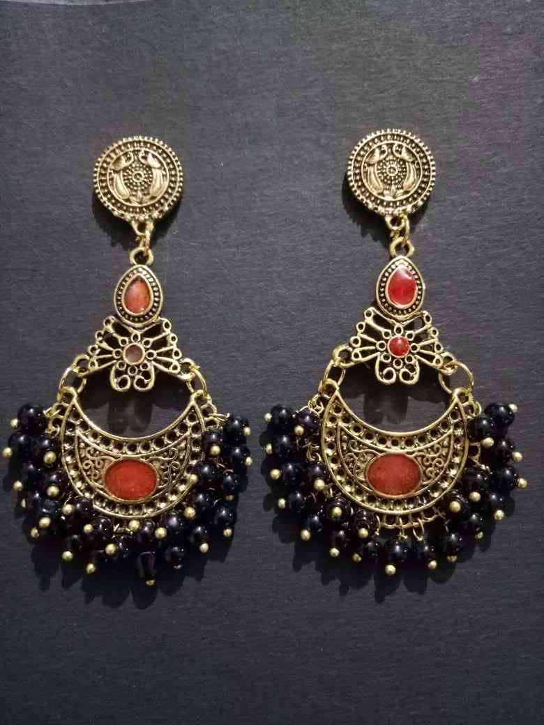 Partywear Antique Golden Beaded Earrings