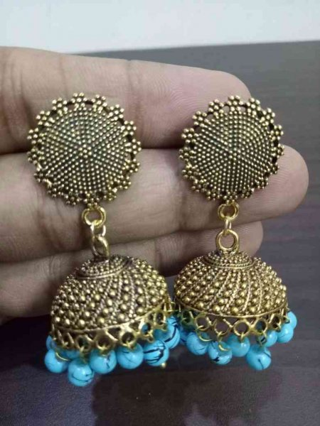 Tempting Golden Beaded Jhumka