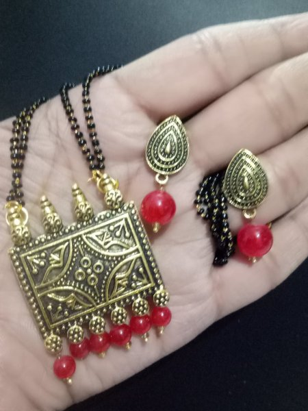Valuable Golden Antique Mangalsutra Set