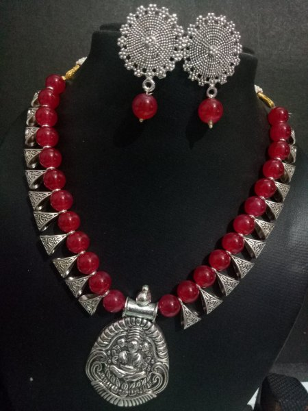 Beautiful Temple Silver Beads Necklace Set