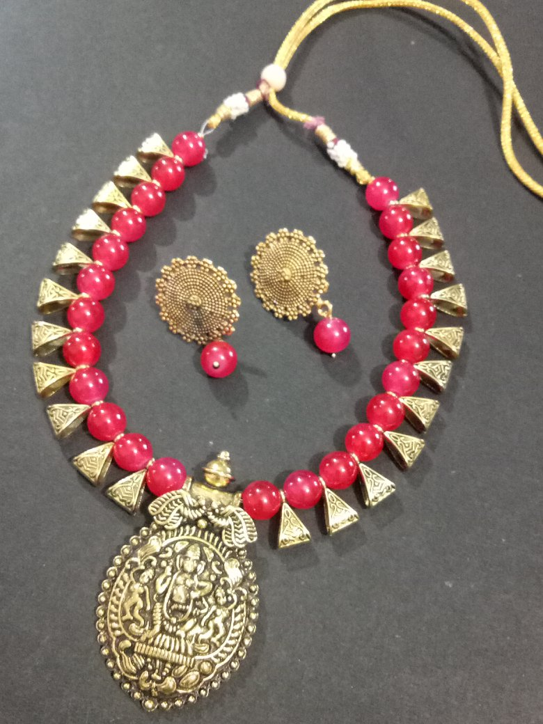 Traditional Golden Temple Necklace Set