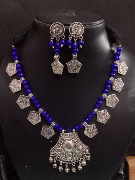 Adorable Beaded Silver Necklace Set