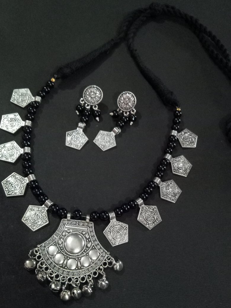Marvelous Silver Beaded Necklace Set