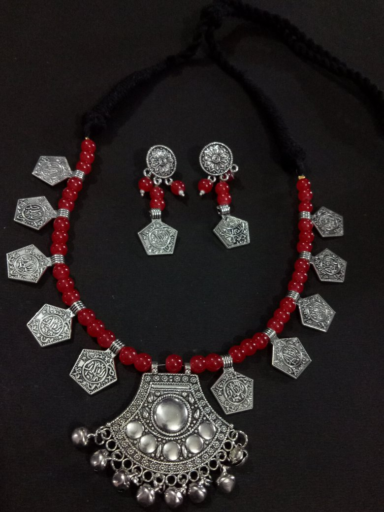 Charming Beaded Oxidised Necklace Set