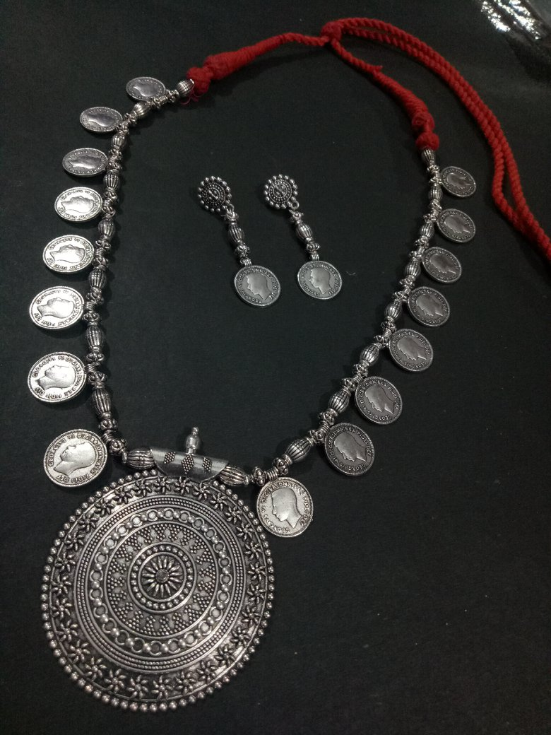 Long Oxidised Coin Necklace Set