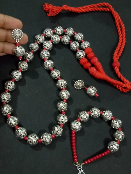 Oxidised Beaded Rajasthan Pattern Full Necklace Set