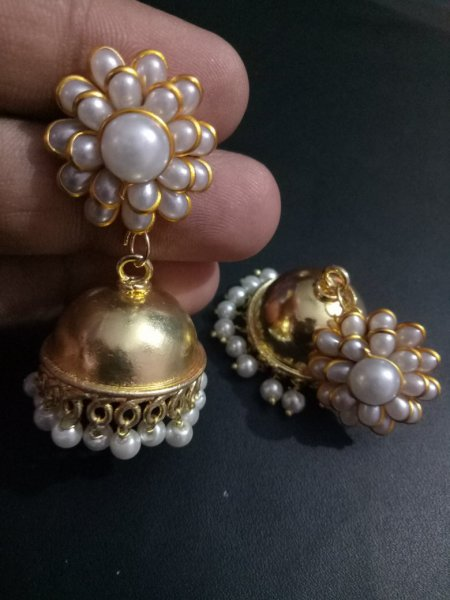 Lovely Jaipuri Golden Pachhi Earrings