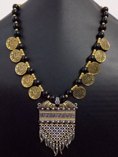 Royal Stone Dual Tone Coin Necklace
