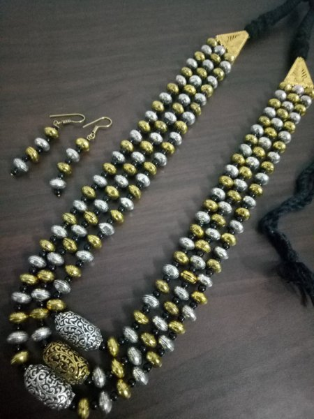 Antique Dual Tone Long Mala Set