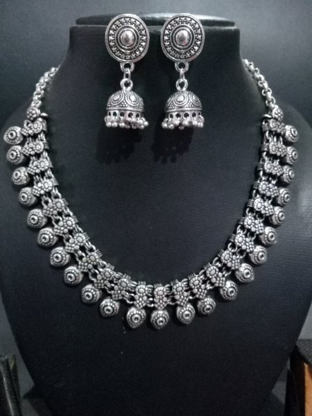 Partywear oxidised kolhapuri necklace set