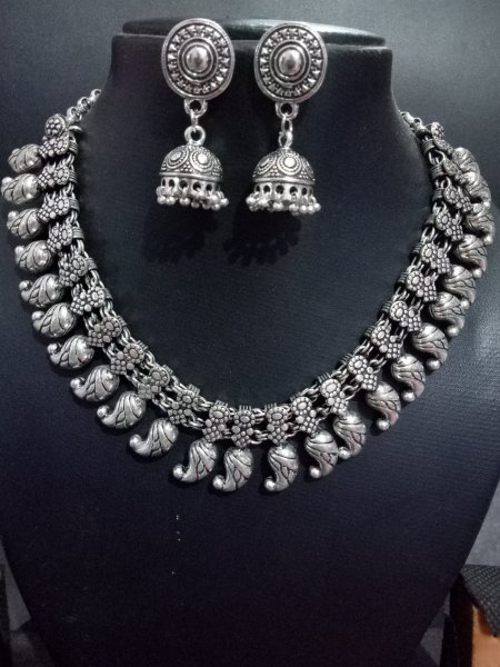 Designer oxidised kolhapuri necklace set