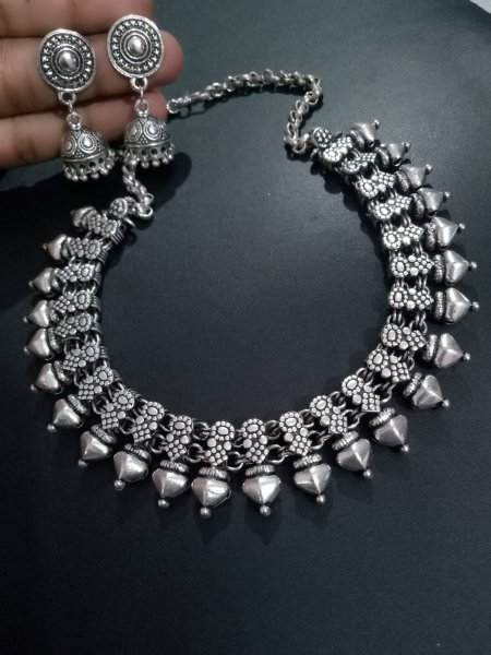Elegant oxidised kolhapuri necklace set