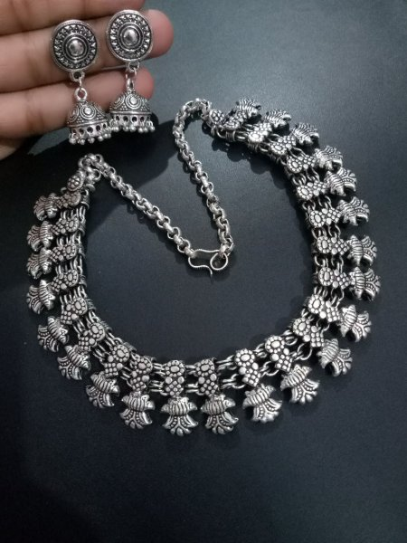 Marvelous oxidised Kolhapuri Necklace Set