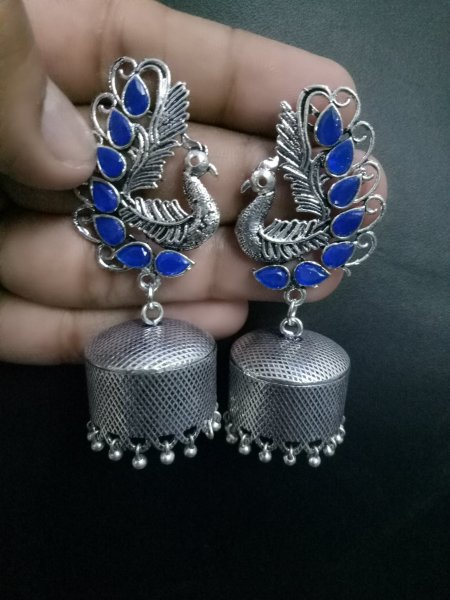Credible oxidised peacock stone jhumki