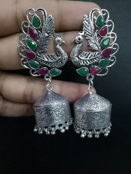 Glowing handmade peacock jhumki