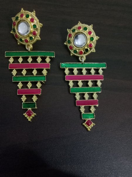 Glowing Enamelled Long Earrings