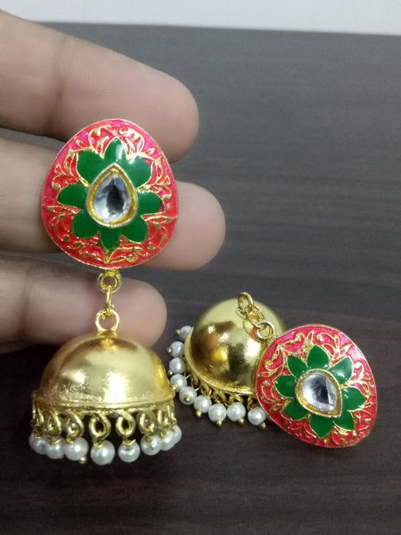 Beautiful Enamel Studd Jaipuri Jhumka