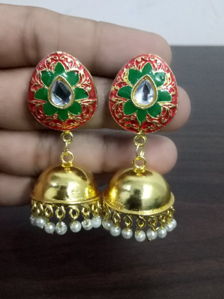 Pleasant Golden Kundan Jhumka