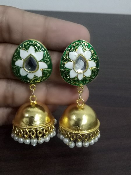 Lovely Golden Enamel Jaipuri Jhumka