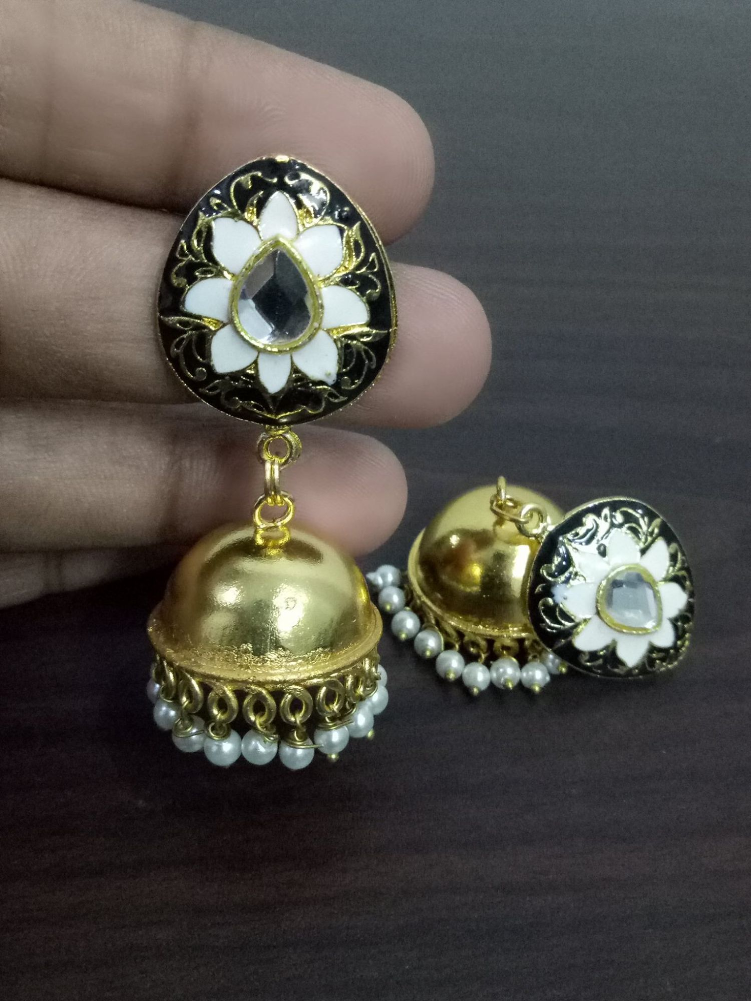 Beautiful Enamel Golden Jhumka