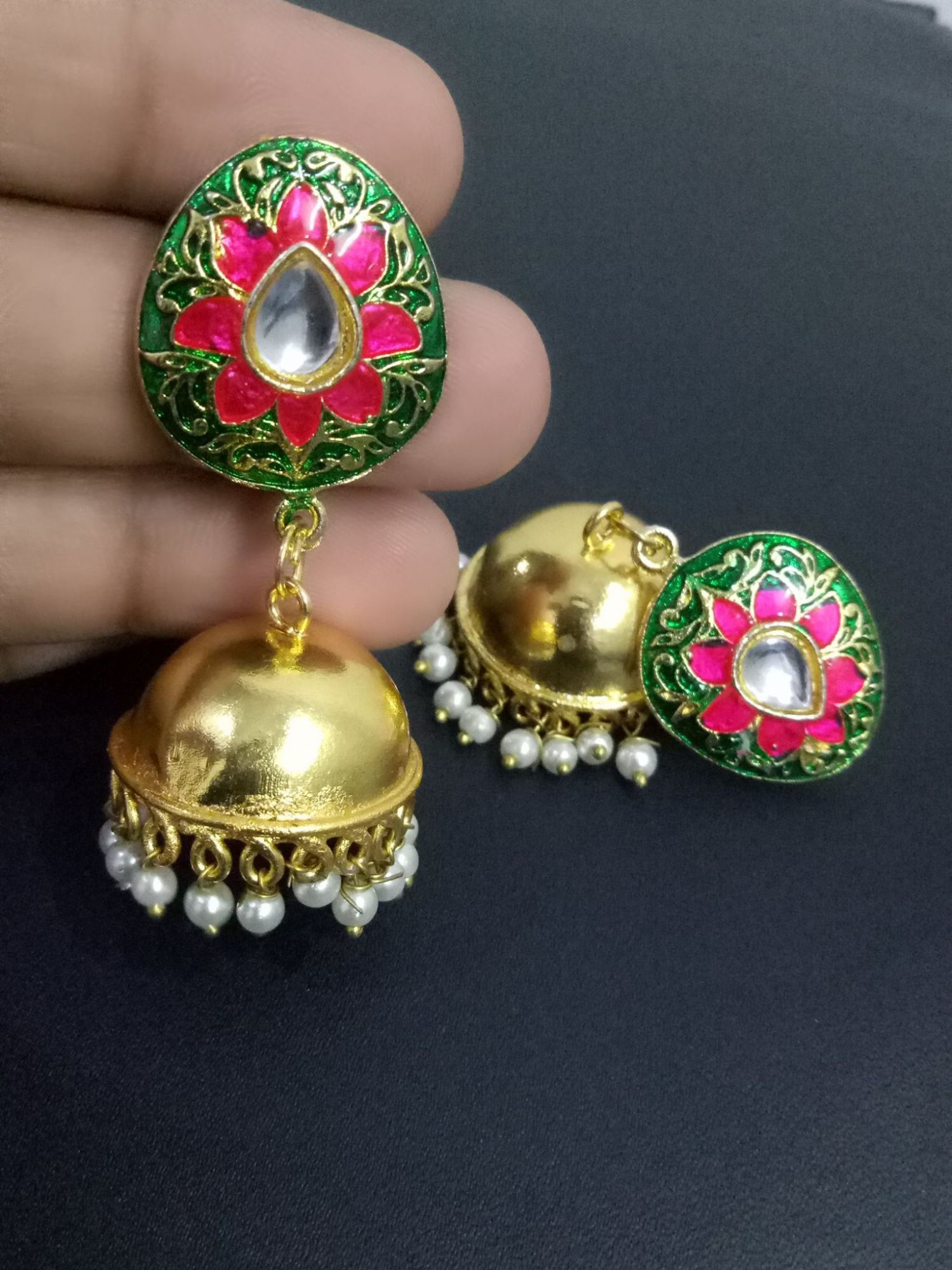Charming Golden Jaipuri Jhumka