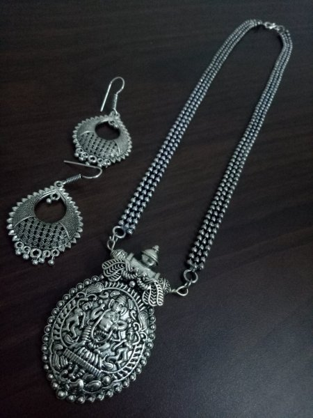 Traditional Oxidised Ball Chain Necklace Set
