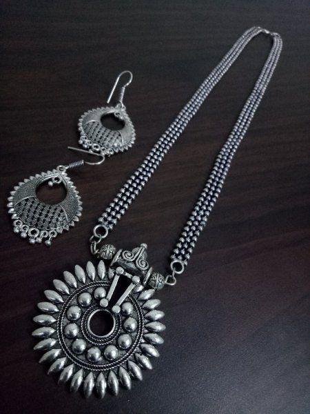 Attractive Oxidised Ball Chain Necklace Set