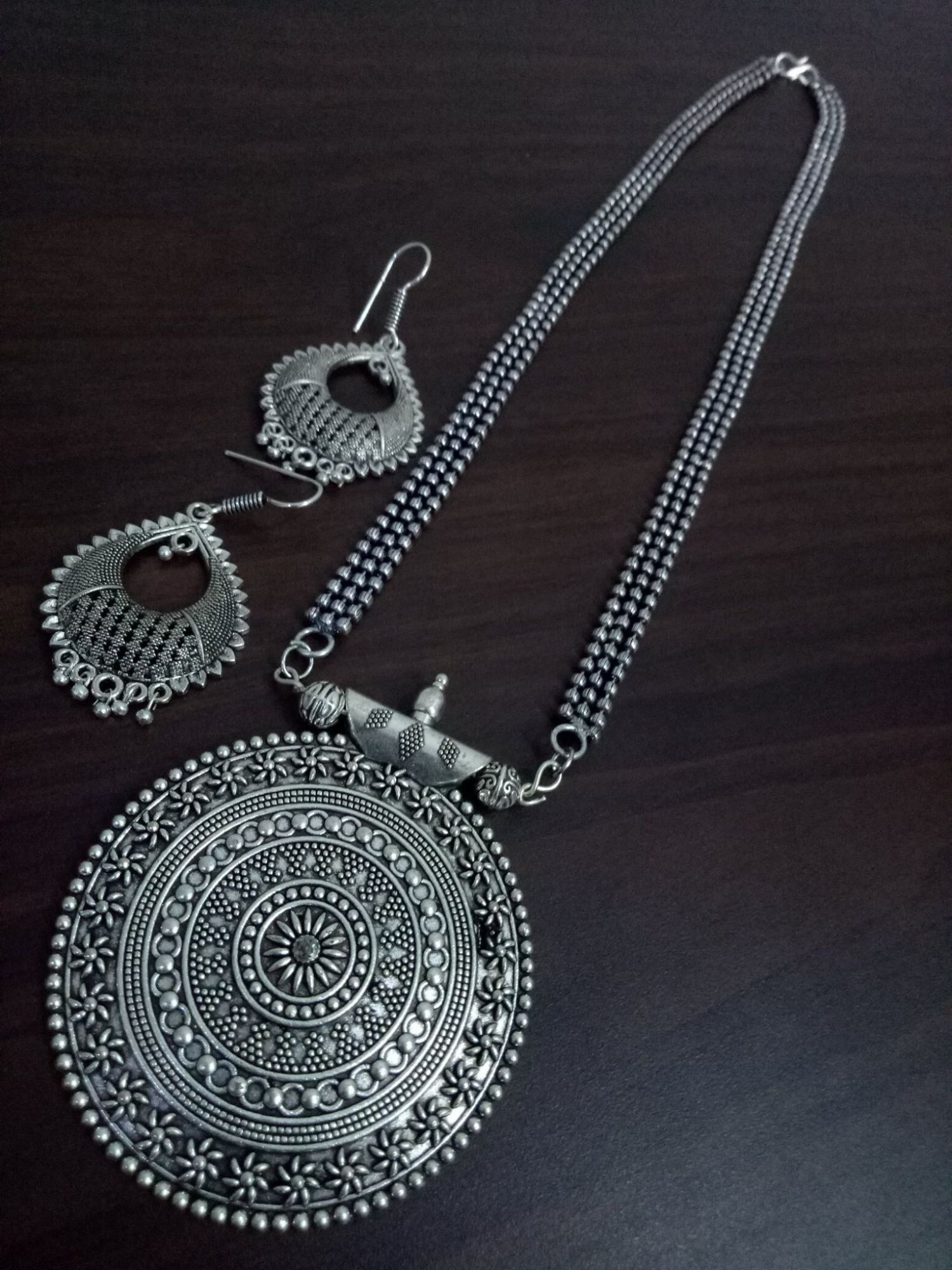 Antique Oxidised Ball Chain Necklace Set