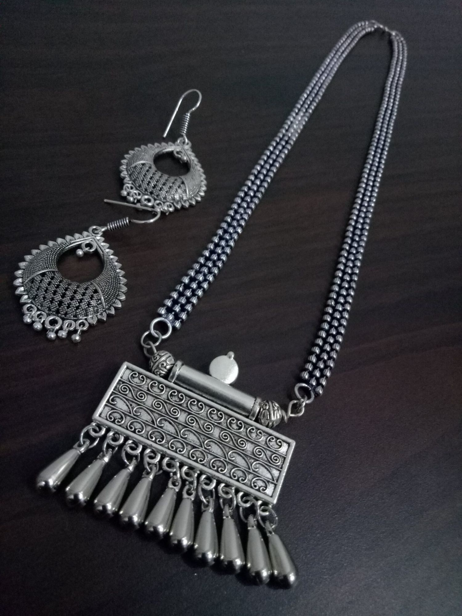 Trendy Oxidised Ball Chain Necklace Set