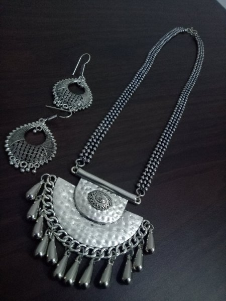 Royal Oxidised Ball Chain Necklace Set