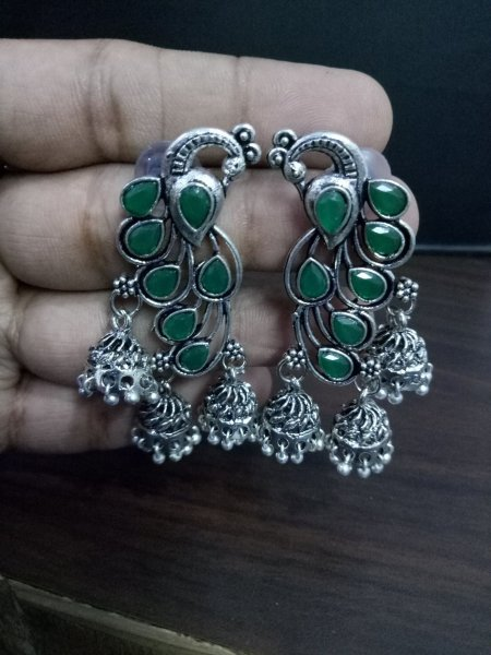 Awesome Stone Oxidised Peacock Jhumki