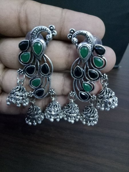 Royal Peacock Stone Jhumki