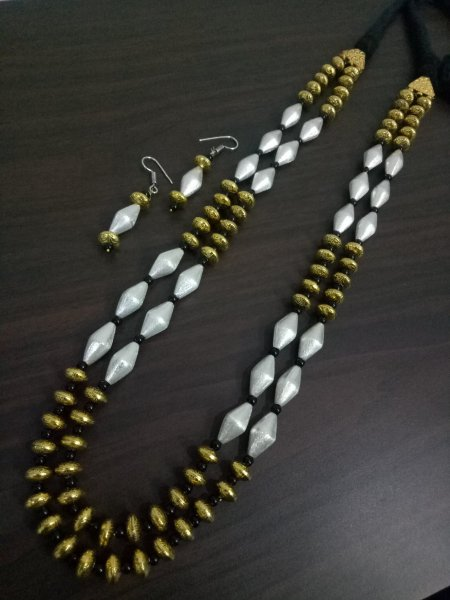 Traditional Handicrafted Dual Tone Jaipuri Mala Set