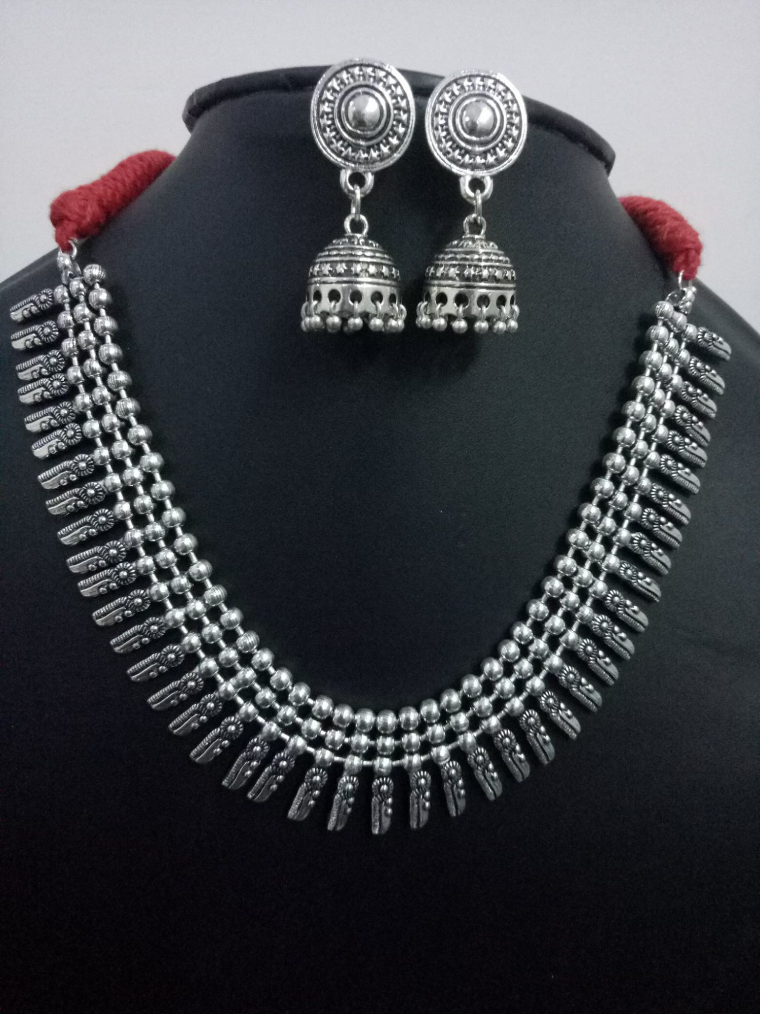 Beautiful Oxidised Ball Chain Necklace Set