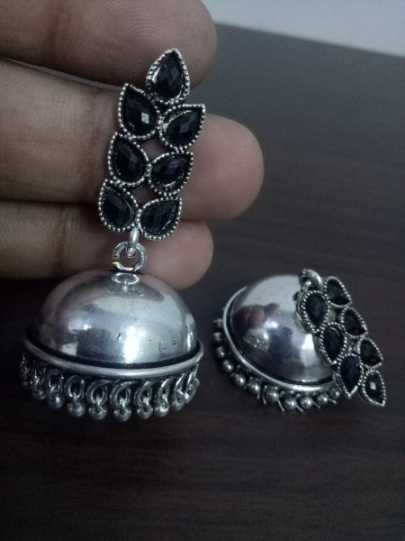 Stylish Oxidised Stone Jhumki
