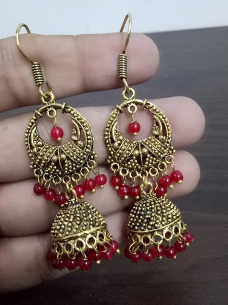 Ethnic Oxidised Beaded Jhumki