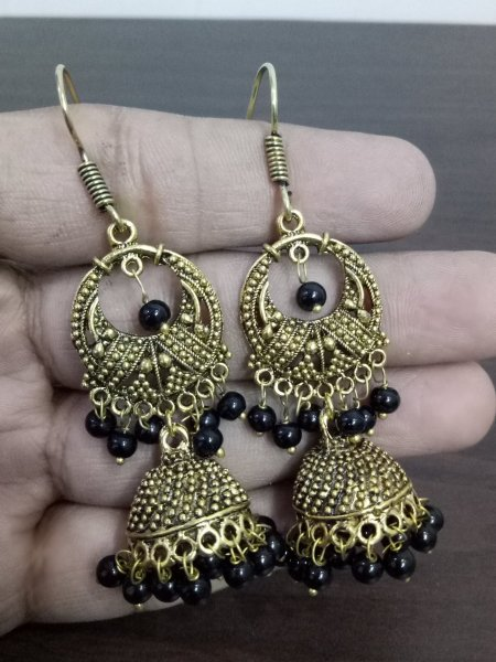 Partywear Oxidised Beaded Jhumki