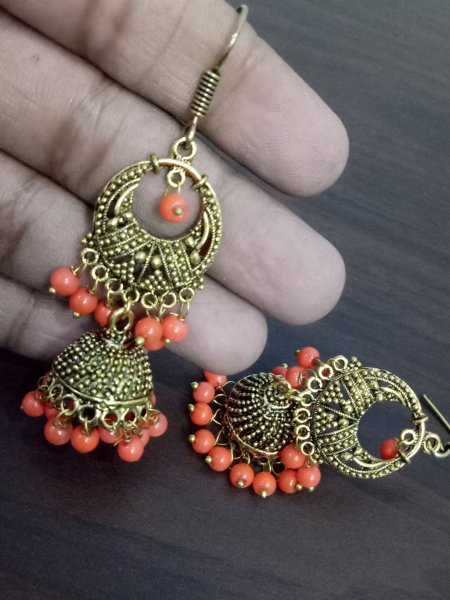 Beautiful Oxidised Golden Jhumki