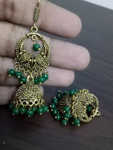Trendy Oxidised Beaded Jhumki