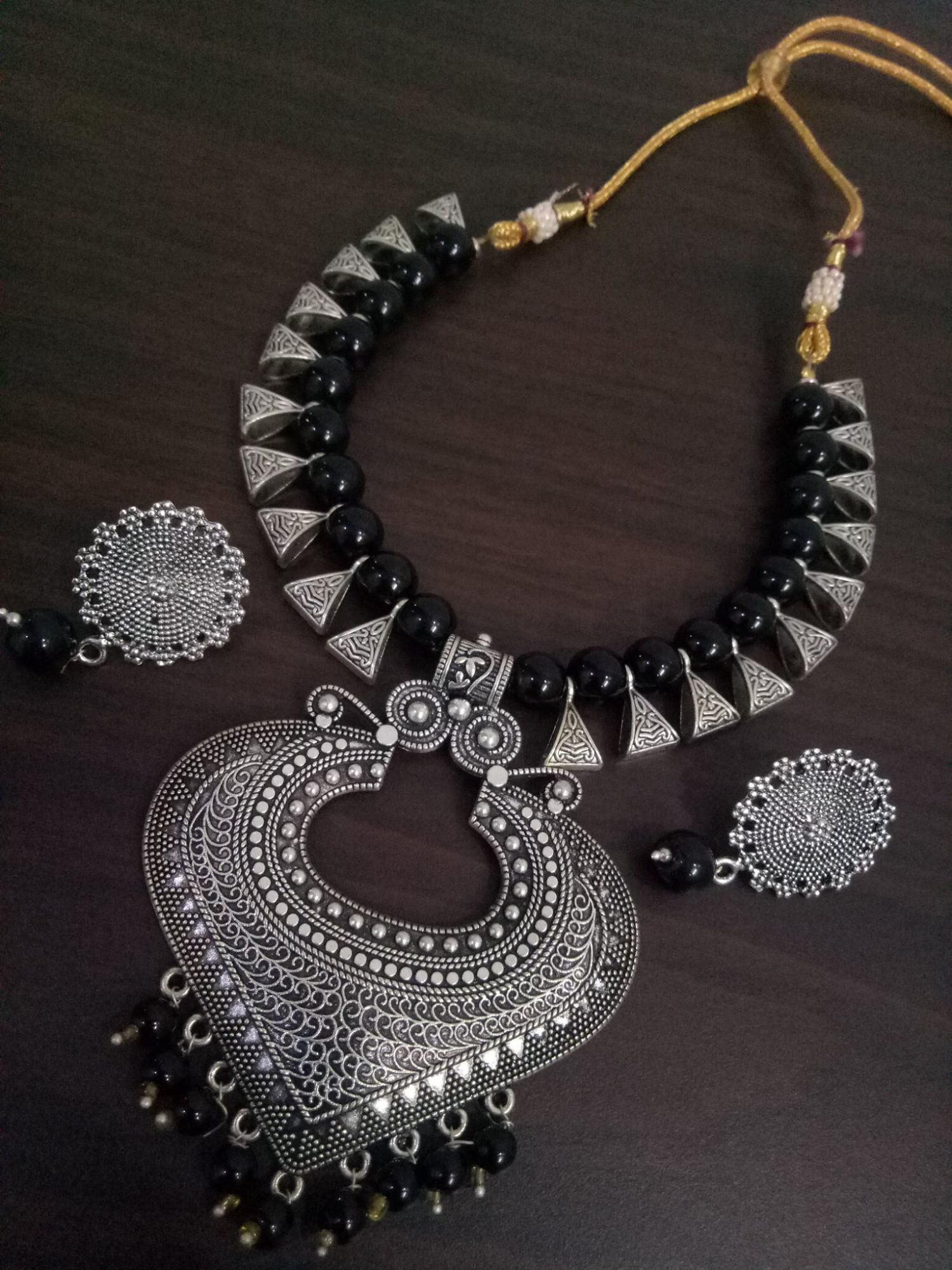 Designer Loop Oxidised Necklace Set