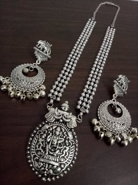 Oxidised Ball Chain Long Necklace Set